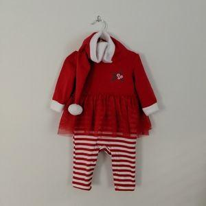 Girls Christmas Onesie 0-3m Red + White w/hood